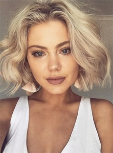 Enchanting Bob Style Deep Short Wave Synthetic Hair Lace Front Cap African American Women Wigs 8 Inches