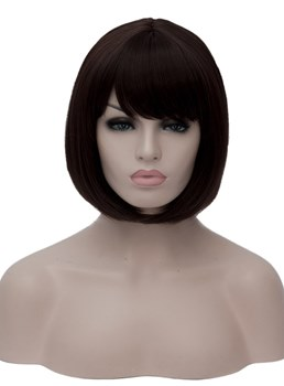 Bob Hairstyle Synthetic Straight Hair With Bangs Capless Wig Clearance Sale