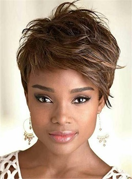 Cool Short Straight Capless Human Hair for African American Women