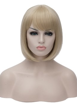 Bob Type Synthetic Straight Hair WIth Bangs Capless Wig