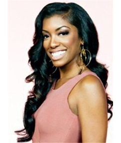 Porsha Williams Hot Sale Wavy Natural Human Hair Lace Front Cap Women Wig 22 Inches