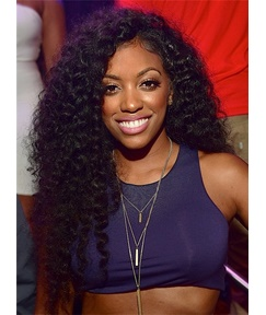 Porsha Williams Hot Sale Sporty Curly Synthetic Hair Lace Front Cap Women Wig 26 Inches