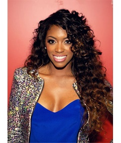 Porsha Williams Hot Sale Charming Curly Synthetic Hair Lace Front Cap Women Wig 26 Inches