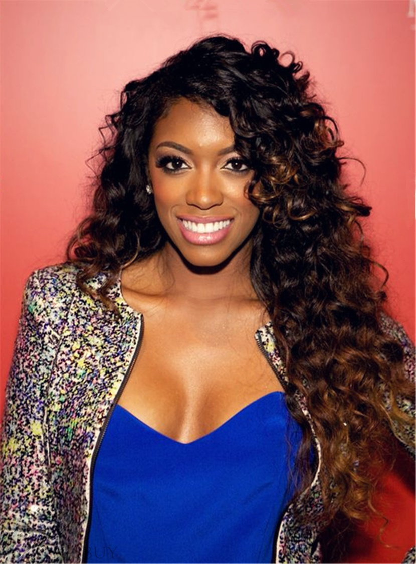 Porsha Williams Hot Sale Charming Curly Synthetic Hair Lace Front Cap Women Wig 26 Inches 13096450