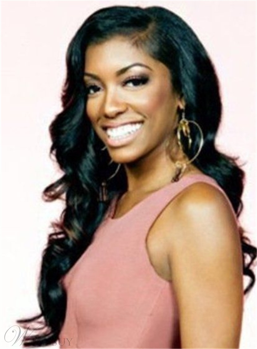 Porsha Williams Hairstyles Women's Hot Sale Natural Wavy Human Hair Lace Front Wigs 22 Inches
