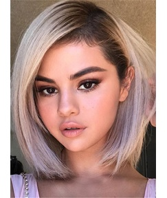 Selena Gomez Newest Hairstyle Bob Wigs Synthetic Hair Straight Short Lace Front Cap 10 Inches