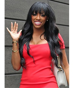 Porsha William Full Bang Long Natural Wave Capless Human Hair Wigs 24 Inches