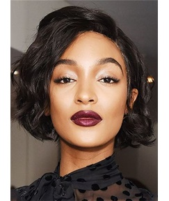 Bob Hairstyle Deluxe Wavy Human Hair Lace Front Cap African American Women Wigs 8 Inches