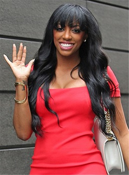 porsha william full bang onda larga sin pelo natural pelucas de cabello humano 24 pulgadas