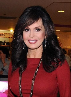 Marie Osmond Side Bang Capless Medium Length Wave Synthetic Wigs 16 Inches