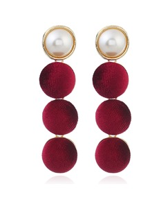 Pearl Velvet Ball Pompon Earrings