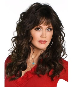 Marie Osmond Full Bang Human Hair Medium Length Wave Capless Wigs 16 Inches