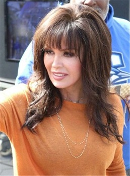Marie Osmond Full Bang Medium Lenght Loose Wave Human Hair Capless Wigs 16 Inches