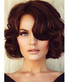 Short Wave Bob Blunt Cut Classical Synthetic Hair With Bangs Lace Front Cap Wigs 12 Inches