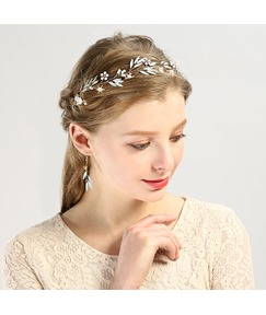 Rhinestone Floral Leaves Wedding Hair Accessories