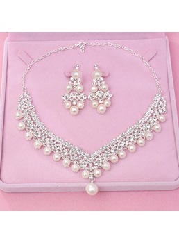 Pearl Diamante Wedding Women Jewelry Set