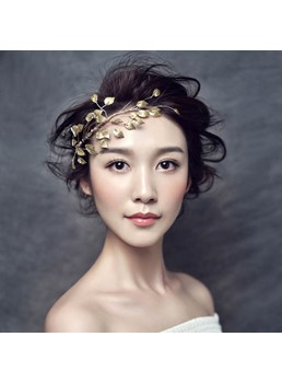 Handcraft Metallic Leaves Bride Hair Accessories