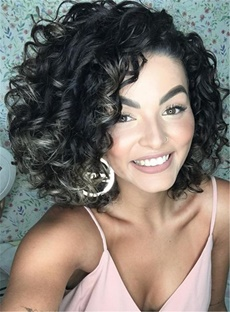 Gorgerous Synthetic Hair Curly Lace Front Cap African American Wigs 12 Inches
