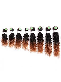 8pcs Human Hair Blend Human Hair Weave Curly Hair Extension