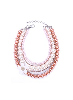 Colorful Pearl Floral Multilayer Necklace