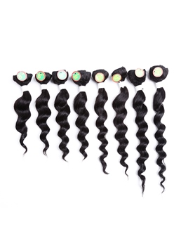 Deep Wave Hair Weave Human Hair Blend Bundles Short Sew in hair Extensions for Black Women 8pcs/pack