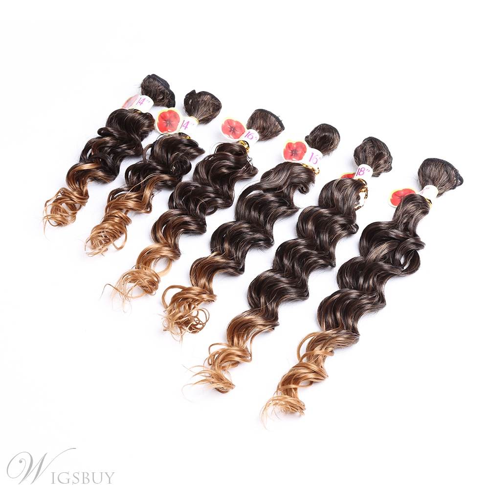 8pcs Curly Human Hair Blend Hair Weave Extension