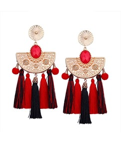 Bohemian Arc-Shaped Tassel Earrings