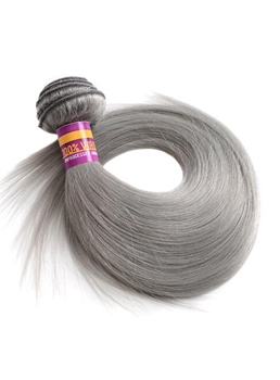 Slik Straight Human Hair Weave Gray Color Hair Extension