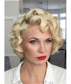 Big Curly Blonde Medium Synthetic Hair Lace Front Cap Wigs 12 Inches