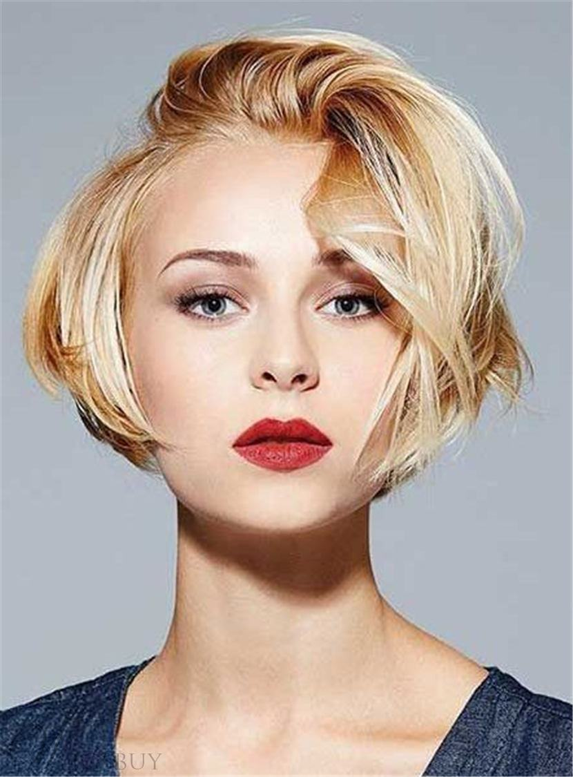Pixie Short Straight Mixed Color Human Hair With Bangs Lace Front Cap Wigs 8 Inches 13172760