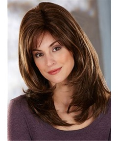 Side Fringe Layered Cut Synthetic Capless Straight Wigs 16 Inches