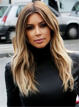 Kim Kardashian Middle Parting Body Wave Human Hair Lace Front Wigs