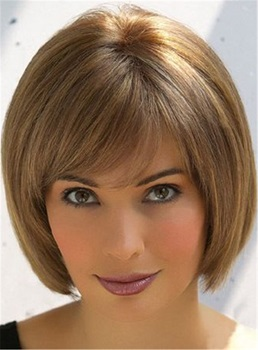 Short Straight Bob Style Human Hair Capless Wigs 10 Inches