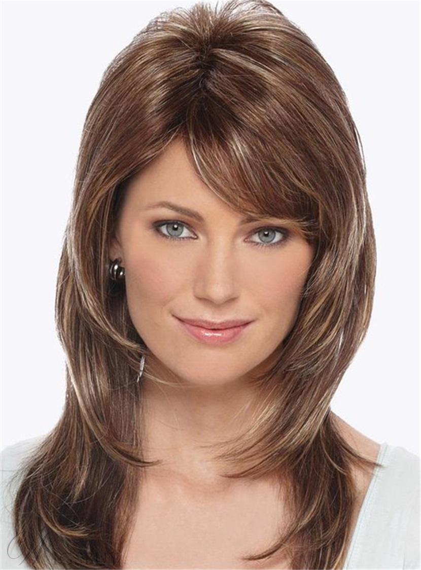 Side Fringe Layered Cut Straight Human Hair Capless Women Wigs with Bang