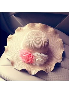 Wave Cut Straw Sun Hat For Holiday