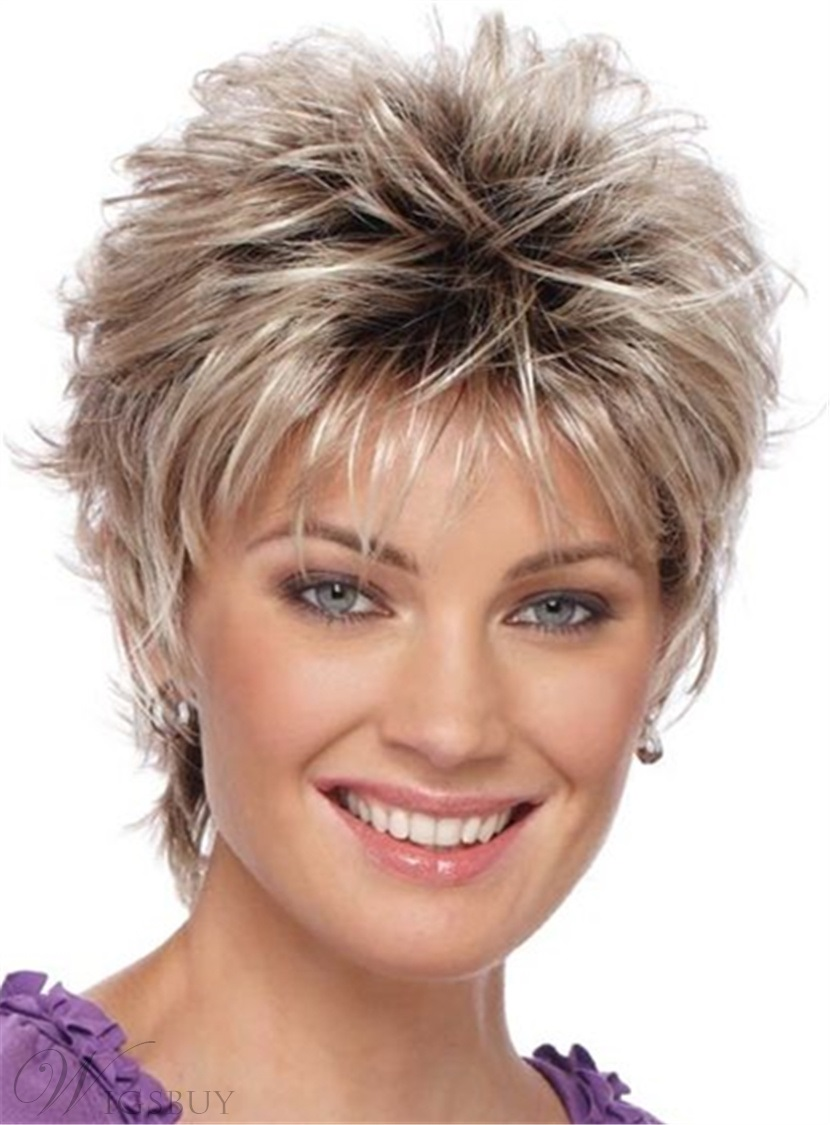 Pixie Choppy Cut Human Hair Short Straight Capless Wigs