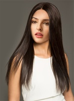 Long Silk Straight Black Women Capless Synthetic Wigs 26 Inches