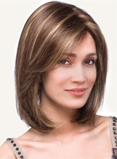 Short Straight Invert Bob Side Fringe Synthetic Capless Wigs 10 Inches