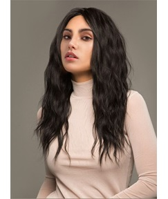 Natural Black Long Water Wave Synthetic Capless Wigs 18 Inches