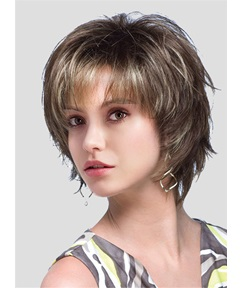 Short Straight Layered Cut Air Bang Synhetic Capless Wigs