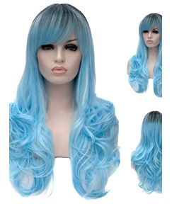 Cosplay Blue Synthetic Wavy Hair Capless Women Wig