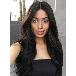 Black Women Long Wave Middle Parting Capless Synthetic Wigs