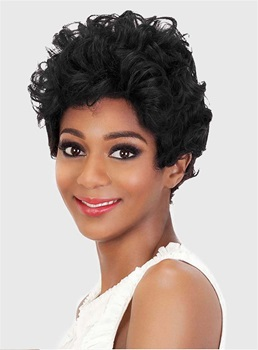 Black Color Short Curly Synthetic Capless Wigs for Black Women