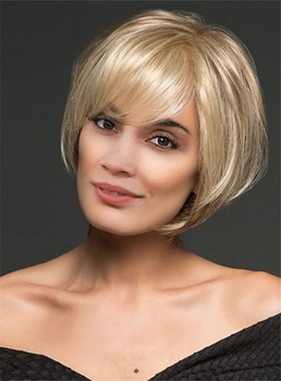 Blonde Color Short Straight Bob Hairstyle Wispy Bang Capless Women Wigs