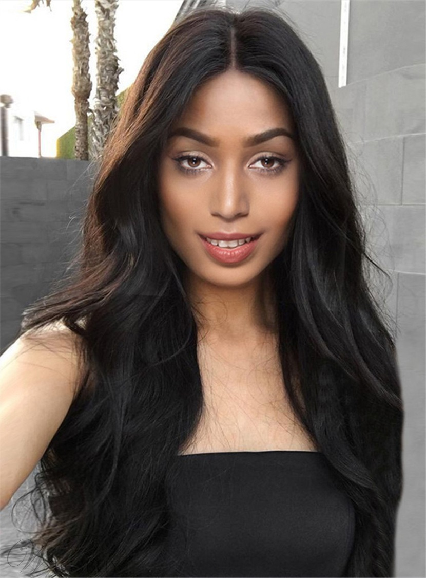Black Women Long Wave Middle Parting Capless Synthetic Wigs 13200304