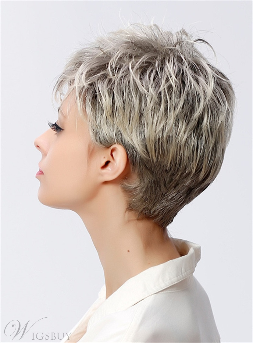 Salt and Pepper Short Layered Synthetic Capless Women Wigs