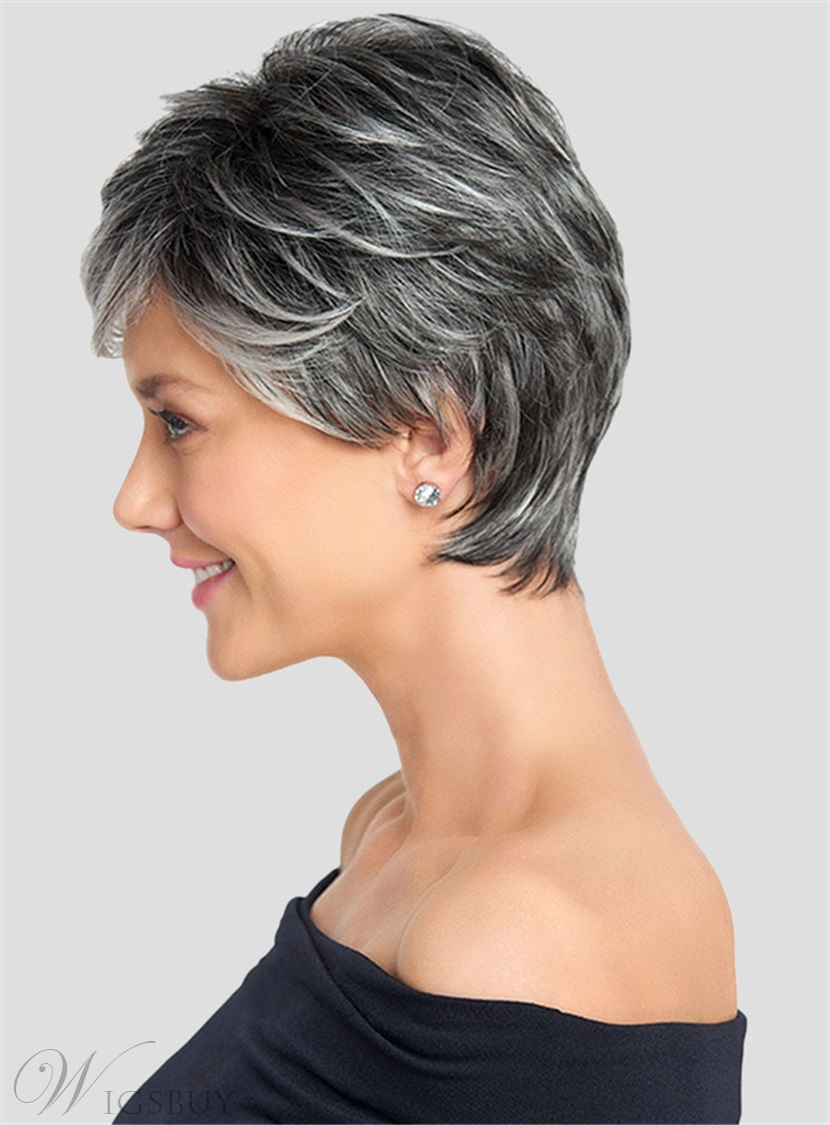 Salt and Pepper Short Layered Synthetic Capless Black Women Wigs