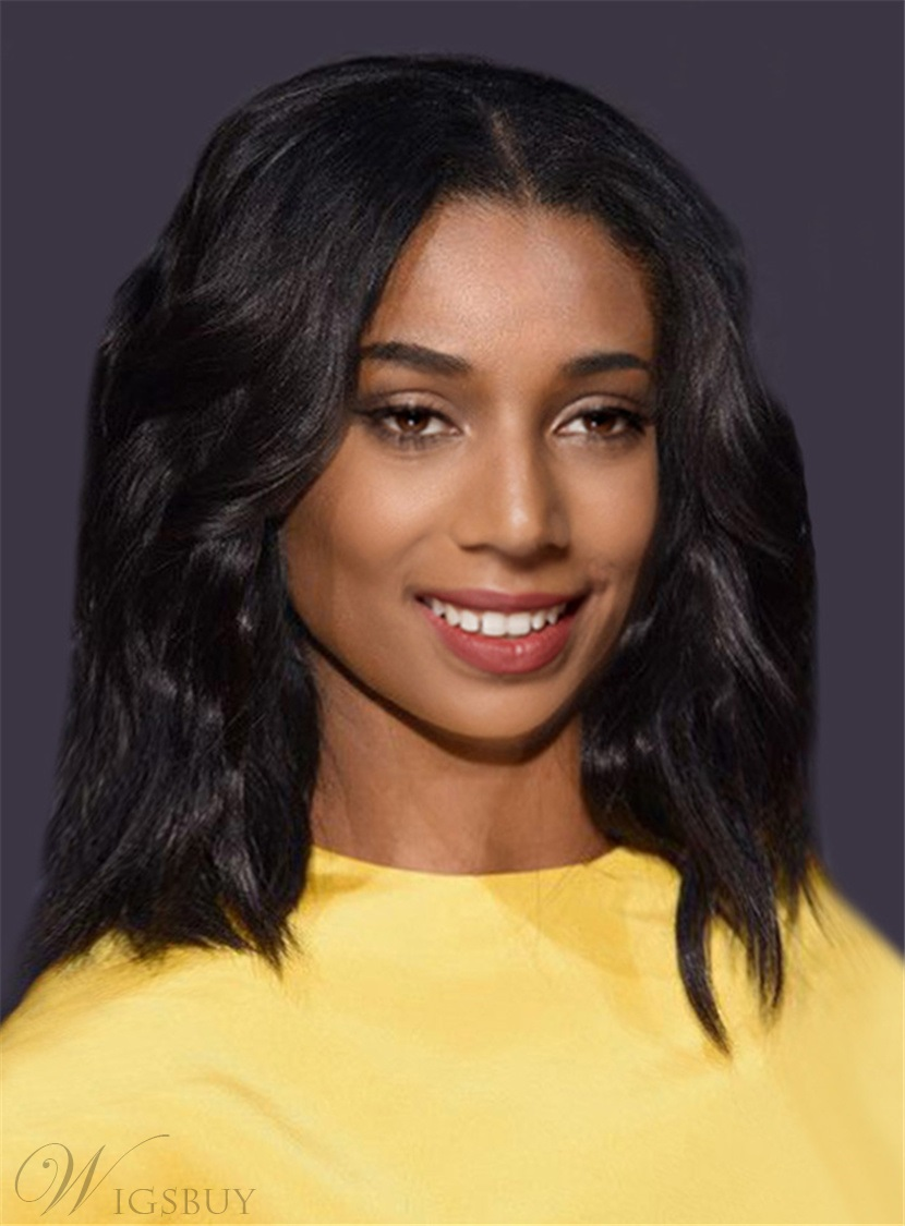 Center Parting Middle Length Wave Synthetic Capless Black Women Wigs