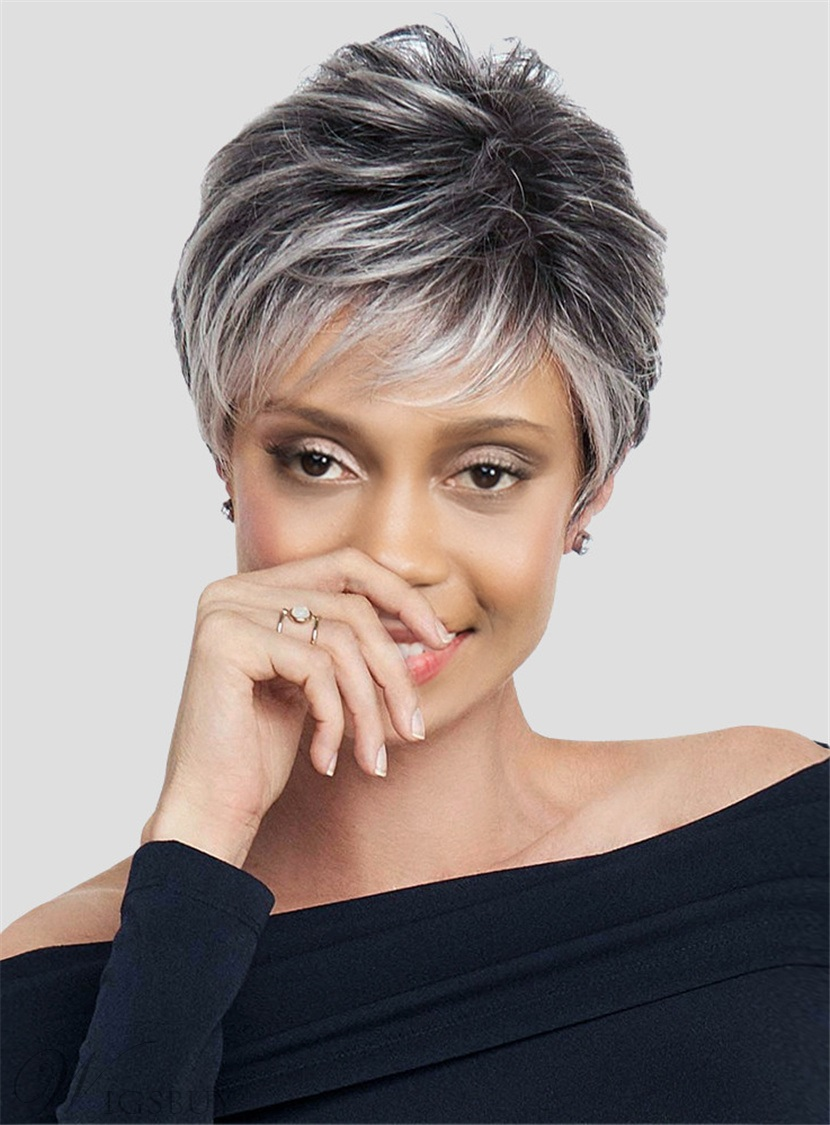 hairstyles for salt and pepper hair for women salt and salt and pepper short layered synthetic capless black