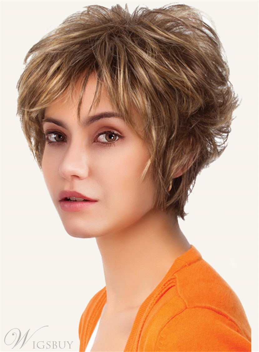 Short Straight Choppy Cut Capless Synthetic Women Wigs